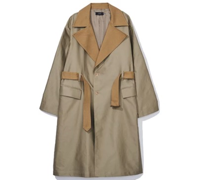 BLAHW BIG LAPEL 2TONE TRENCH COAT