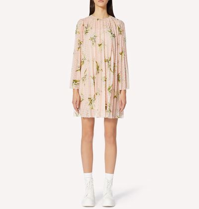 RED Valentino MAY LILY PRINT PLUMETIS PLEATED DRESS