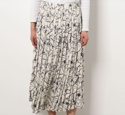 La・comfy アートライン柄プリーツスカート