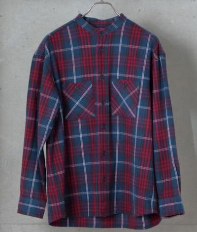 GLOSTER フランネル ビッグシルエット バンドカラーシャツ