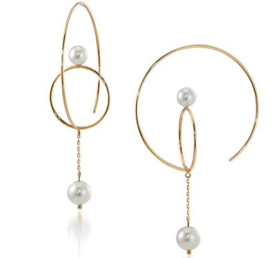 STAR JEWELRY PEARL HOOP&CHAIN PIERCED EARRINGS