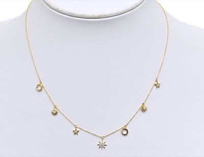STAR JEWELRY K18 ネックレス MOON & SUN NECKLACE
