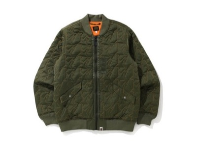 A BATHING APE STA QUILTING BOMBER JACKET