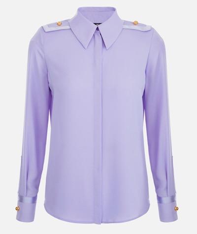 ELISABETTA FRANCHI Duchess satin blouse with shoulder pads