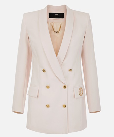 Elisabetta Franchi double-breasted jacket with lapels and light gold logo