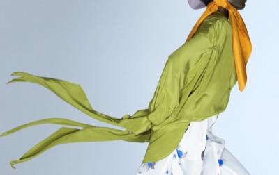 NINA RICCI Olive green colored crepe decin tops