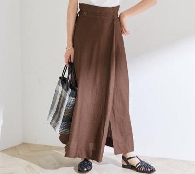 ROPÉ リネンマキシ巻きスカート