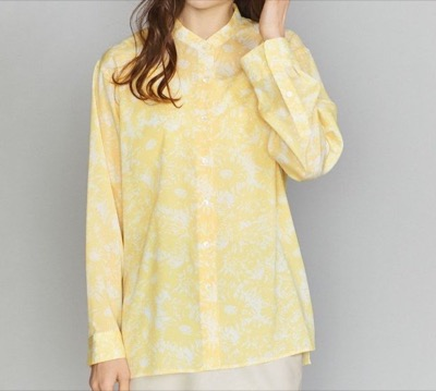 BEAUTY&YOUTH UNITED ARROWS フラワープリントバンドカラーシャツ