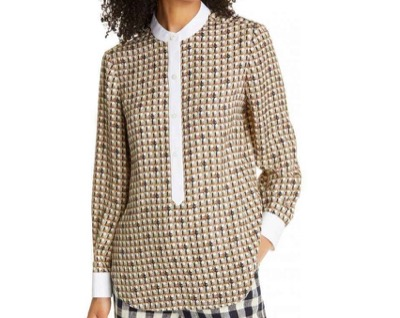 Tory Burch Spencer Front Button Silk Blouse