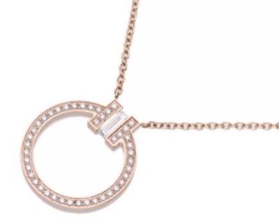 Tiffany & Co. K18PG×パヴェダイヤモンド×1Pバケットダイヤモンド Tモチーフ