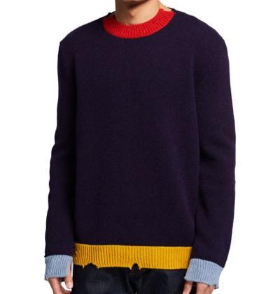 Marni メンズユーズド加工カラーブロッククルーセーター