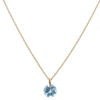 MIKIA k18 round blue topaz necklace