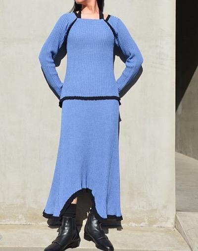 AKANE UTSUNOMIYA zero cotton layered knit dress