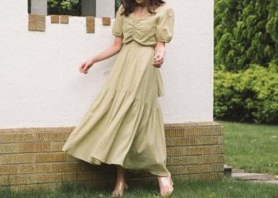 RIELLE riche Back Ribbon Cotton Maxi Dress