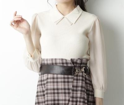 Rirandture シフォン袖衿付ニット