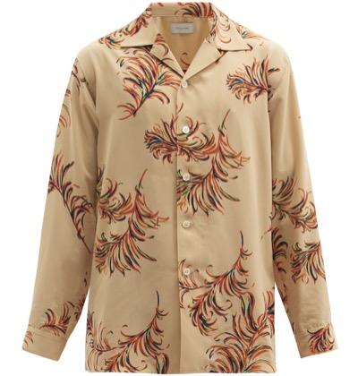 BED J.W. FORD フェザー キューバンカラー ツイルシャツ