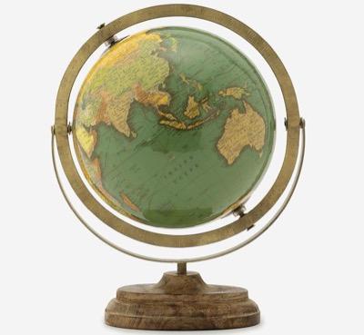 地球儀 WOOD STAND GREEN