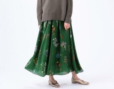 CABaN(キャバン) シルクボタニカルプリント ミディギャザースカート