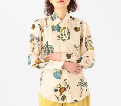 CABaN(キャバン) シルク ボタニカルプリントシャツ