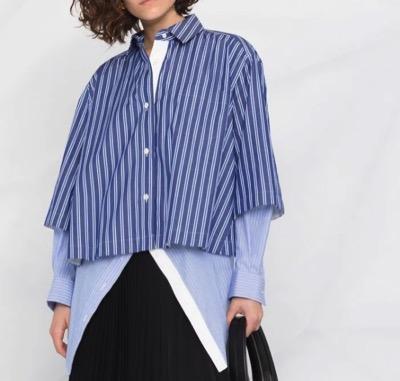 Sacai(サカイ) ストライプ レイヤード シャツ