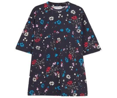 BALENCIAGA Oversized floral-print cotton-jersey T-shirt