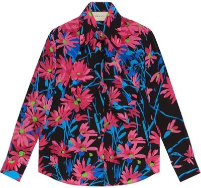 Gucci フローラル シルクシャツ