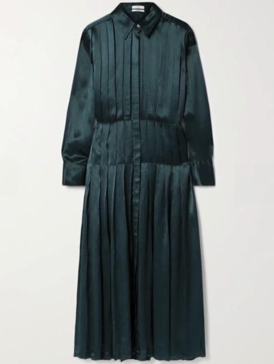 CO Pintucked hammered-satin midi dress