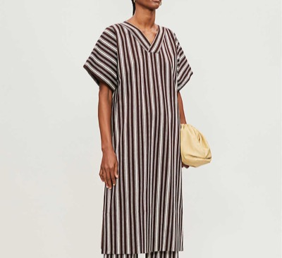 JIL SANDER Striped V-neck cotton midi dress