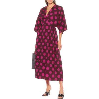Dries Van Noten(ドリス ヴァン ノッテン) Printed cotton midi dress Fuchsiaミドル丈 ワンピース・ドレス