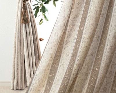 カーテンじゅうたん王国 エレガンス|ストライプ柄の形状記憶付きオーダーカーテン