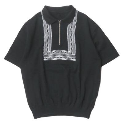 crepuscule x BEAMS ハーフジップコットンニットポロシャツ