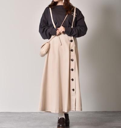 RETRO GIRL サス付きピーチフレアスカート