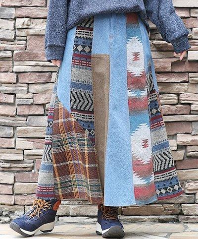 TITICACA(チチカカ) チェック パッチワーク ジャカード ツイード リメイクデニムパッチロングスカート
