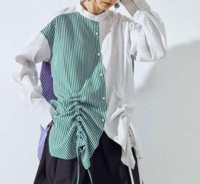UN3D. ヘムギャザーシャツ