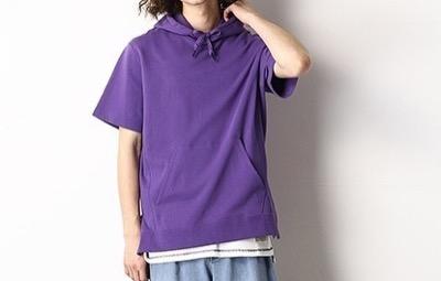 Purple&Yellow ロゴファスナー 半袖プルオーバーパーカ