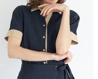 TONAL  MULTIバイカラー半袖シャツ