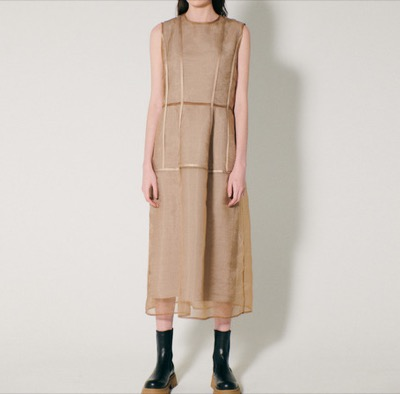 LE CIEL BLEU Sculpted Organza Overlay Dress