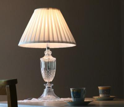 アンティーク調・ハンプトン・ガラステーブルランプ・スタンドランプ・ホワイト布シェード
