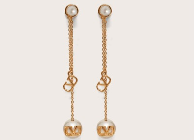VALENTINO VLOGO SIGNATURE EARRINGS WITH PEARLS