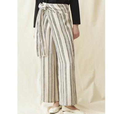 OUTERSUNSET stripe linen wrap pants