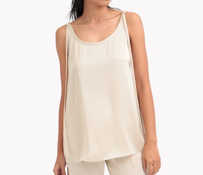 Theory Crushed Satin Tie Tank Top