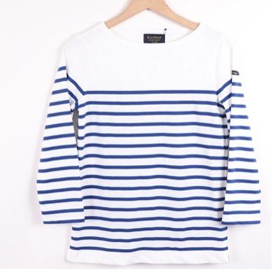 Le Minor 7分袖パネルボーダーバスクシャツ