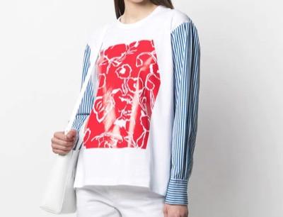 Plan C パネル ロングTシャツ