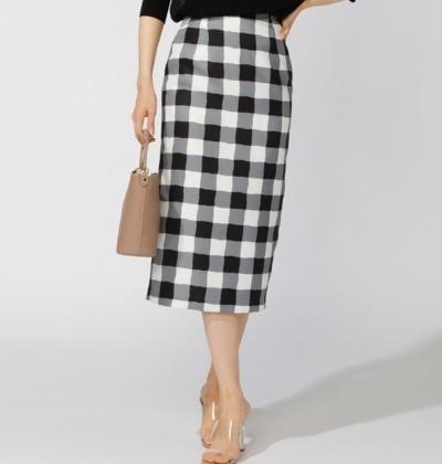 M.deux ブロックチェックタイトスカート