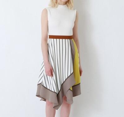 LOVELESS ホワイトアシンメトリー カラーブロック ドレス