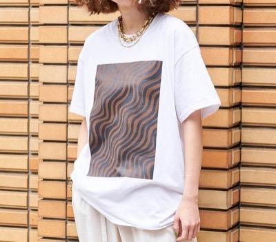 MAISON SPECIAL ウェーブプリントTシャツ