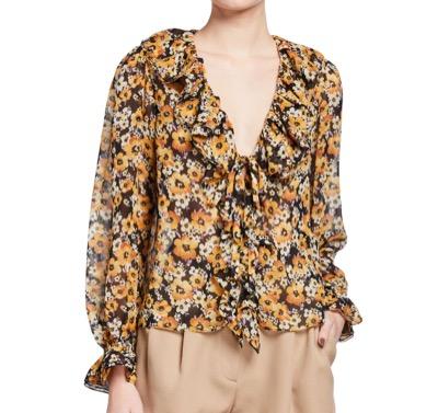 Saint Laurent Floral-Print Ruffle Silk Blouse