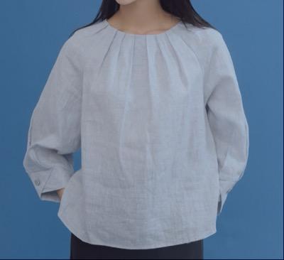 MONG SCENT Shell button linen blouse