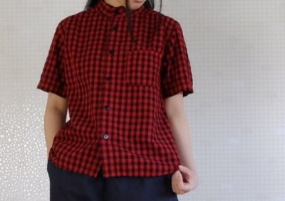 TIGRE BROCANTE インディゴギンガムチェックバンドカラーオープンシャツ
