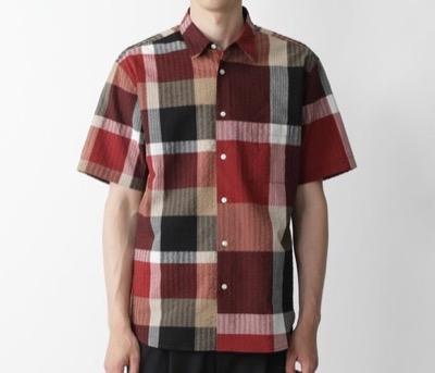 BLACK LABEL CRESTBRIDGE リネンサッカークレストブリッジチェックドッキングシャツ